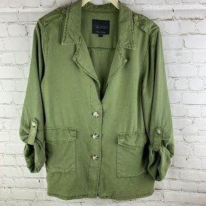 Sanctuary Army Green Tencel Jacket w Tab Sleeves